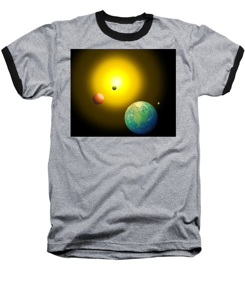 Baseball T-Shirt featuring the digital art The Sun by Cyril Maza