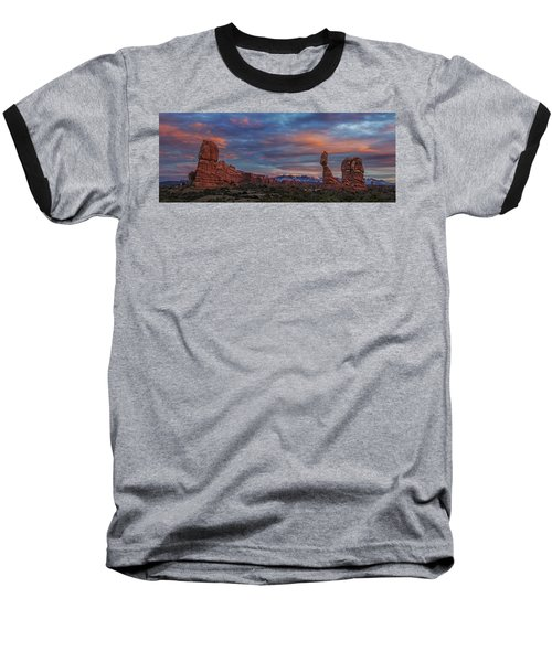 Baseball T-Shirt featuring the photograph The Sun Sets At Balanced Rock by Roman Kurywczak
