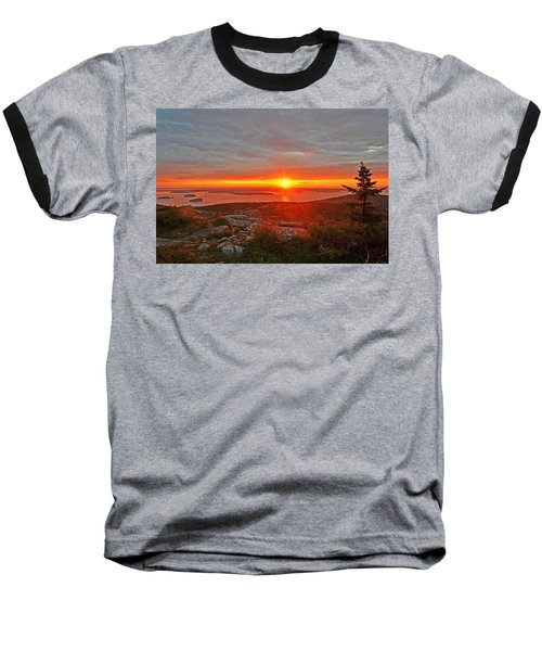 The Sunrise From Cadillac Mountain In Acadia National Park Baseball T-Shirt