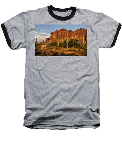 The Superstitions At Sunset  Baseball T-Shirt by Saija  Lehtonen