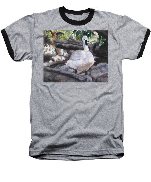 The Swan Baseball T-Shirt by Lori Brackett