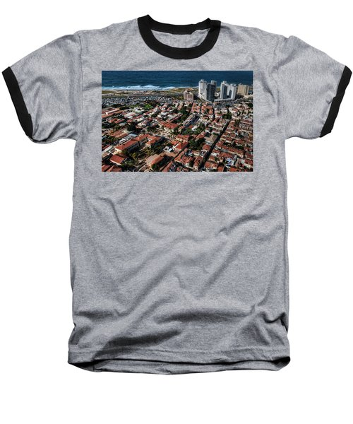 Baseball T-Shirt featuring the photograph the Tel Aviv charm by Ron Shoshani