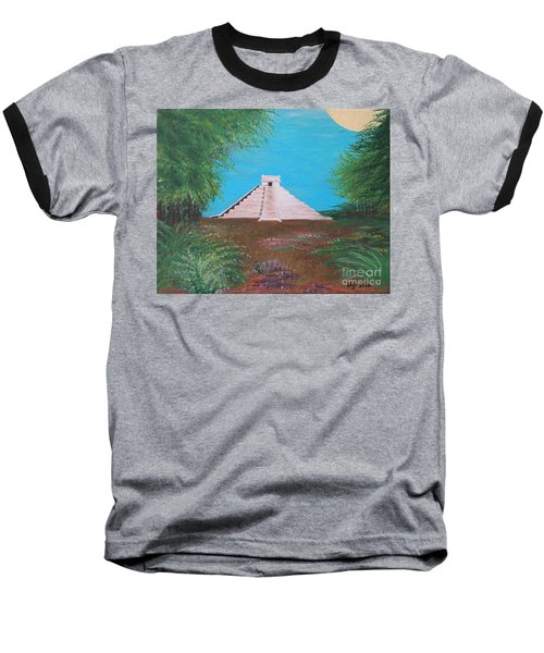 Baseball T-Shirt featuring the painting The Temple Of Kukulcan by Alys Caviness-Gober
