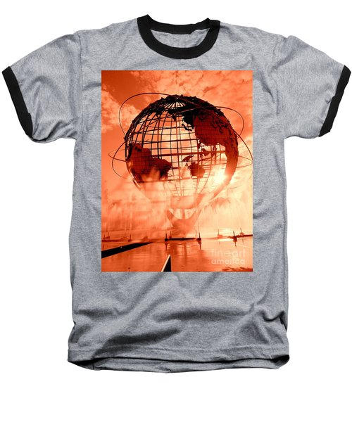 The Unisphere And Fountains Baseball T-Shirt by Ed Weidman