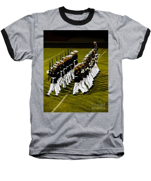 The United States Marine Corps Silent Drill Platoon Baseball T-Shirt by Robert Bales