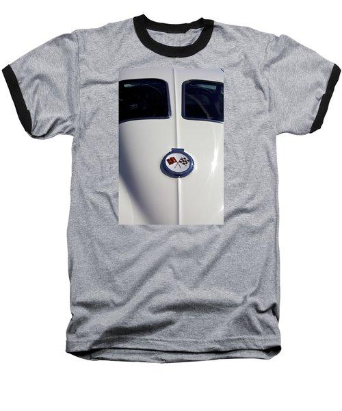 The White Vette - Vintage Corvette Stingray Emblem Baseball T-Shirt by Jane Eleanor Nicholas