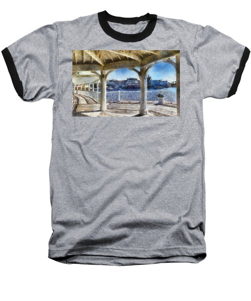 The View From The Boardwalk Gazebo Wdw 02 Photo Art Baseball T-Shirt by Thomas Woolworth