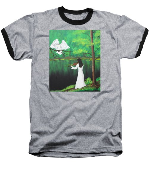 The Violinist By The River   Baseball T-Shirt by Patricia Olson
