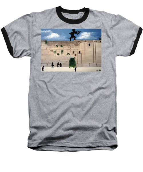 Baseball T-Shirt featuring the painting The  Western Wall And Fiddler On The Roof by Nora Shepley