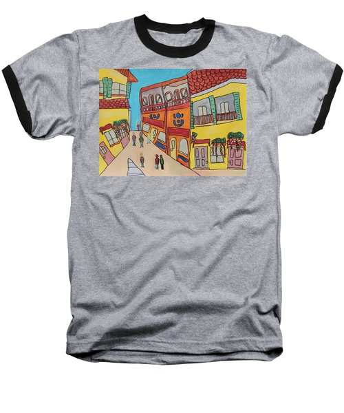 Baseball T-Shirt featuring the painting The Walled City by Artists With Autism Inc