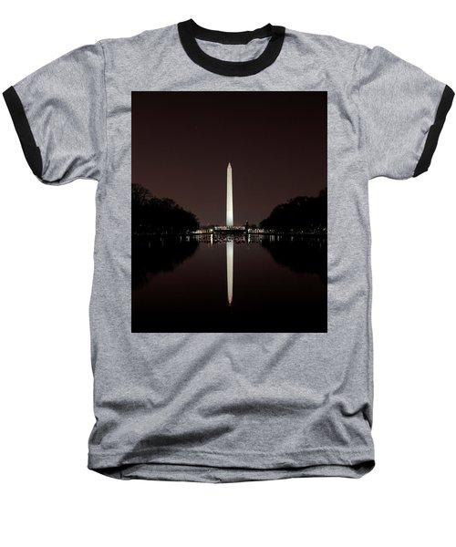 The Washington Monument - Reflections At Night Baseball T-Shirt
