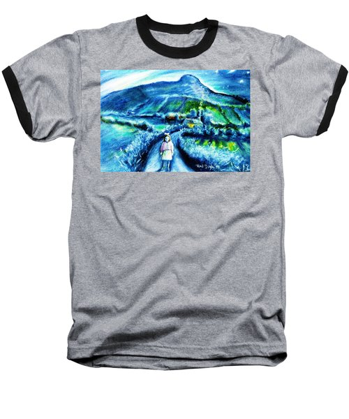 Baseball T-Shirt featuring the painting The White Ribbon - Eagle Hill  by Trudi Doyle