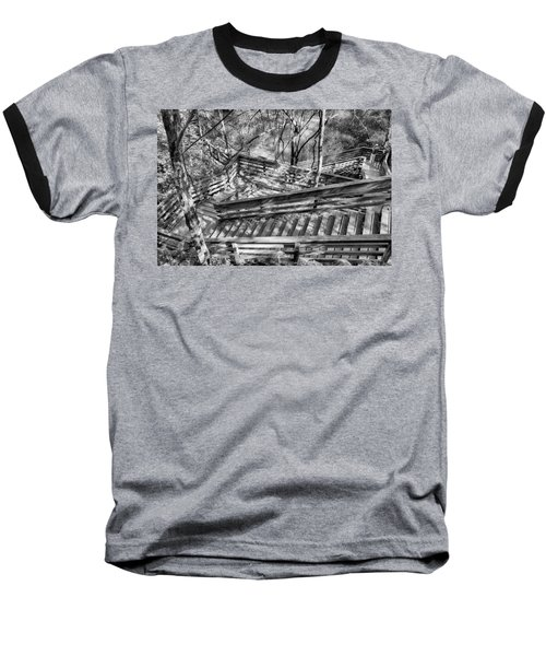 Baseball T-Shirt featuring the photograph The Winding Stairs by Howard Salmon