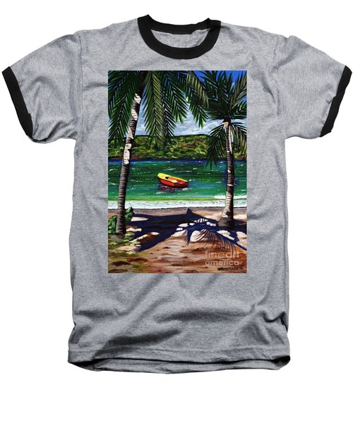 The Yellow And Red Boat Baseball T-Shirt by Laura Forde