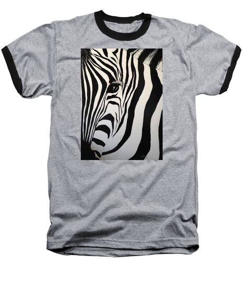 Baseball T-Shirt featuring the painting The Zebra With One Eye by Alan Lakin