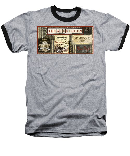 Theatre Room Baseball T-Shirt by Jean Plout