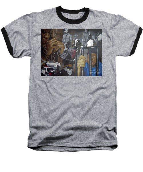 Think Black Man Baseball T-Shirt by Chelle Brantley