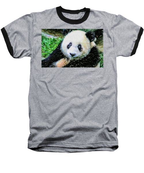 Thinking Of David Panda Baseball T-Shirt by Lanjee Chee