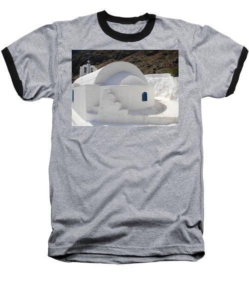 Baseball T-Shirt featuring the photograph Thirasia Church Santorini Greece by Colette V Hera  Guggenheim