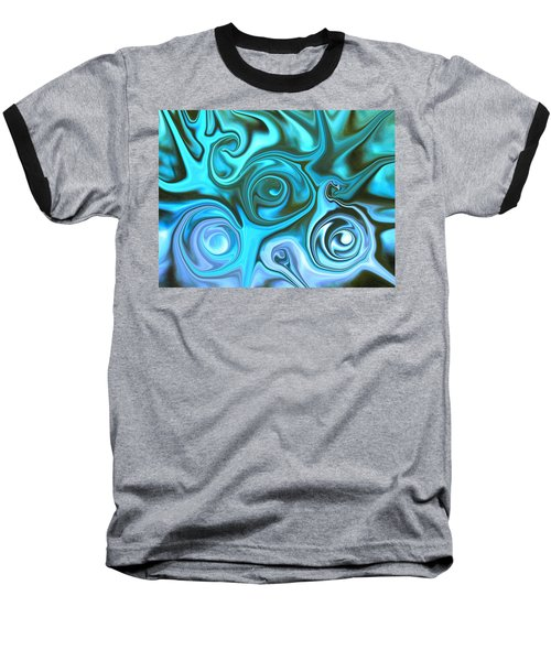 Turquoise Swirls Baseball T-Shirt by Susan Carella