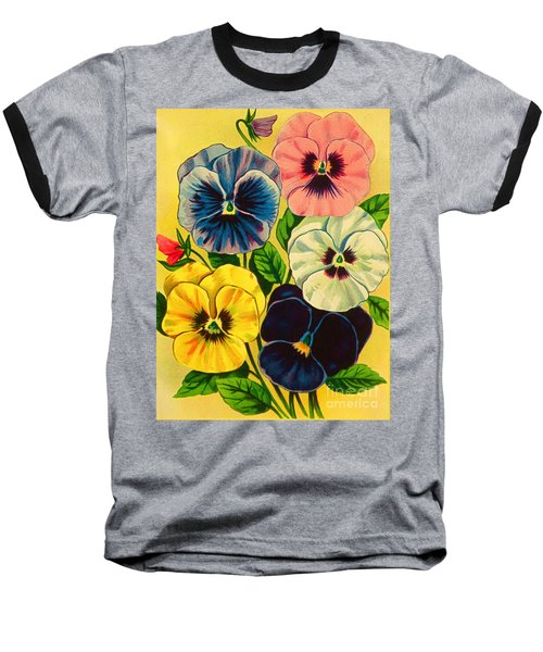 Pansy Flowers Antique Packaging Label  Baseball T-Shirt