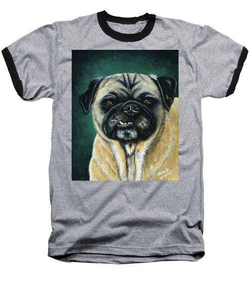 This Is My Happy Face - Pug Dog Painting Baseball T-Shirt