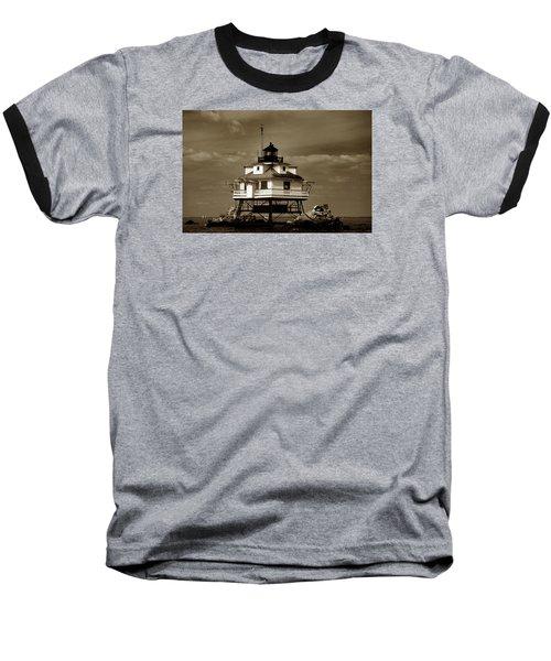 Thomas Point Shoal Lighthouse Sepia Baseball T-Shirt by Skip Willits