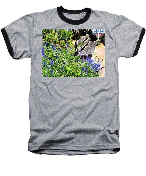 Thoughts On The Weathered Bench Baseball T-Shirt by Pamela Hyde Wilson