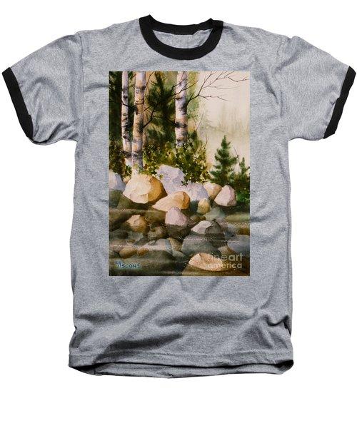 Three Birch By Rocky Stream Baseball T-Shirt by Teresa Ascone