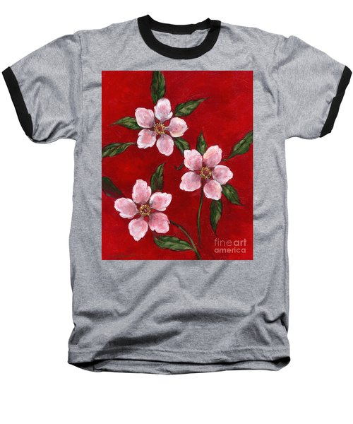 Three Blossoms On Red Baseball T-Shirt