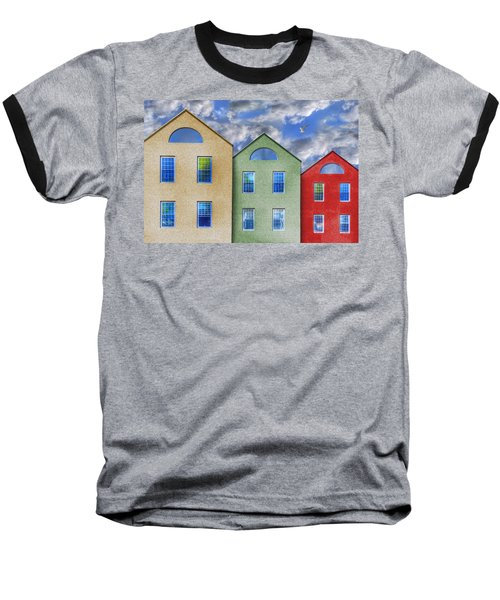 Three Buildings And A Bird Baseball T-Shirt by Paul Wear