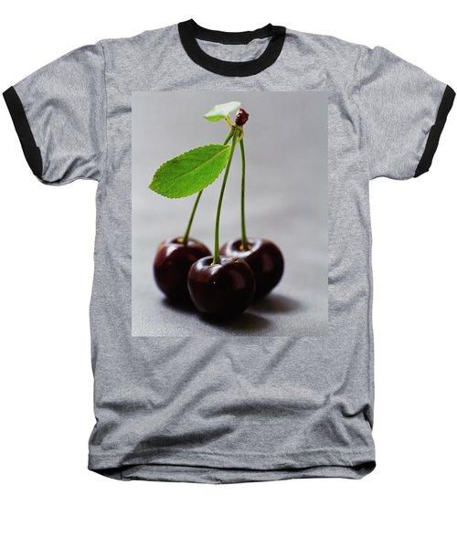 Three Cherries On A Stem Baseball T-Shirt