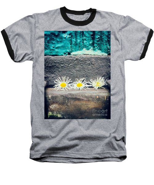 Baseball T-Shirt featuring the photograph Three Daisies Stuck In A Door by Silvia Ganora