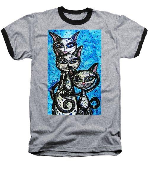 Three Grey Cats-alcohol Inks Baseball T-Shirt
