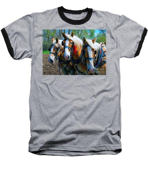 Baseball T-Shirt featuring the photograph Three Horses Break Time  by Tom Jelen