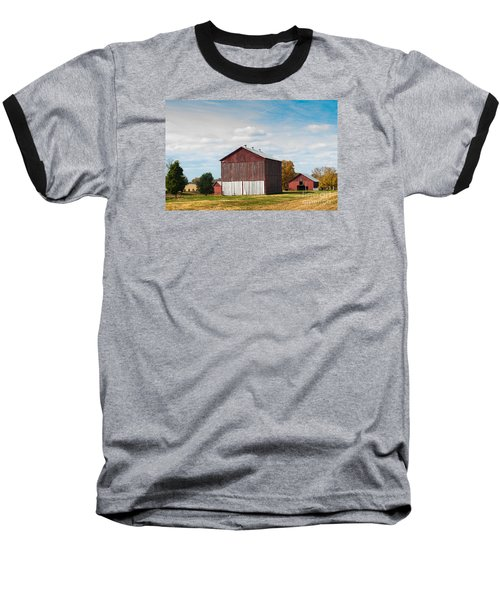 Baseball T-Shirt featuring the photograph Three In One Barns by Debbie Green