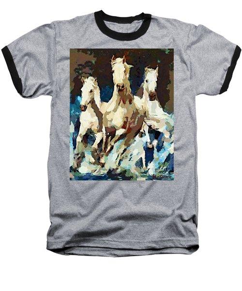 Three Lipizzans Baseball T-Shirt by Dragica  Micki Fortuna
