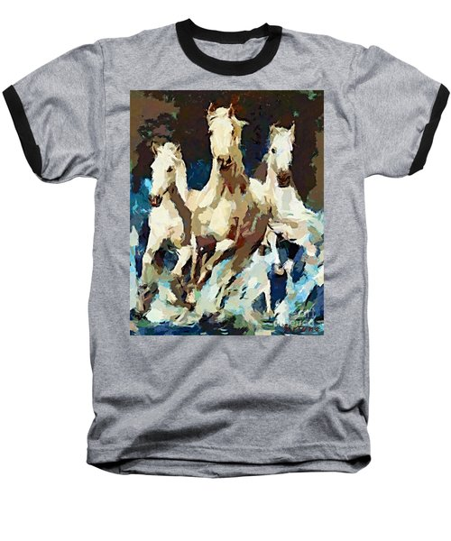 Three Lipizzans Baseball T-Shirt