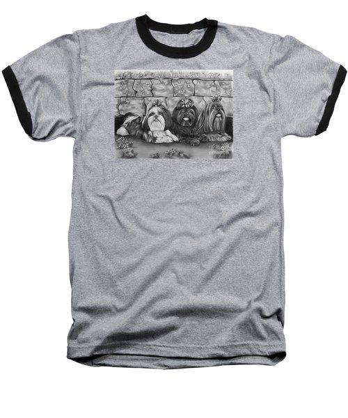 Three Little Shih Tzus Baseball T-Shirt