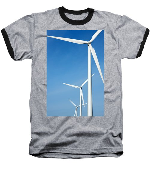 Three Mighty Windmills In A Row Against A Blue Sky. Baseball T-Shirt