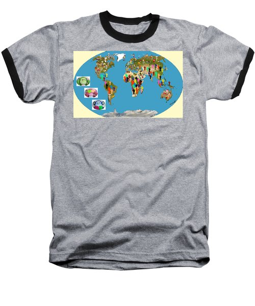 Three Monkeys And Hunger Baseball T-Shirt