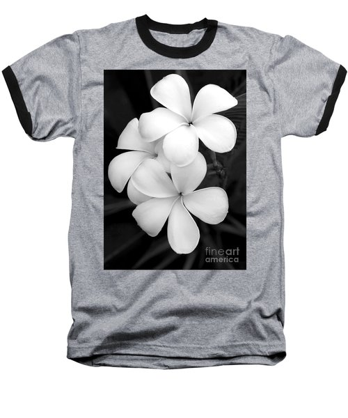 Three Plumeria Flowers In Black And White Baseball T-Shirt