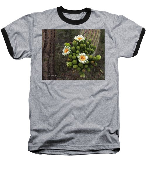 Three Saguaro Blossoms And Many Buds Baseball T-Shirt by Tom Janca