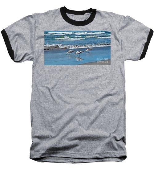 Three Seagulls At Ocean Shore Art Prints Baseball T-Shirt by Valerie Garner