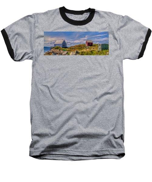 Three Shacks By The Sea Baseball T-Shirt
