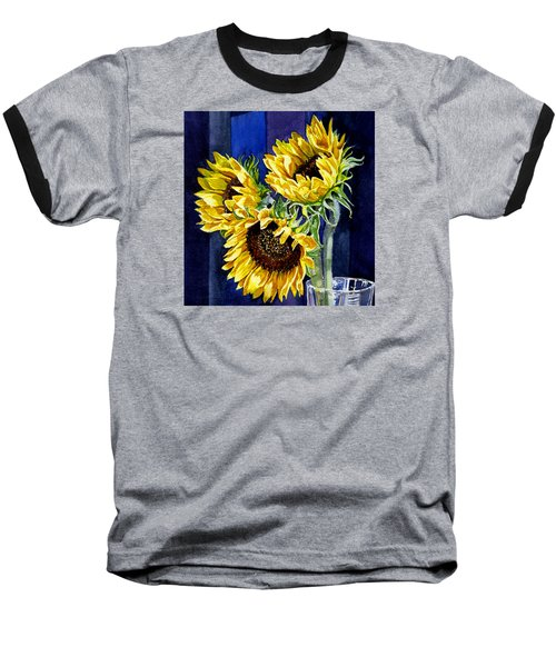 Three Sunny Flowers Baseball T-Shirt