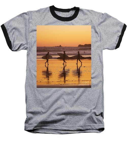 Three Surfers At Sunset Baseball T-Shirt