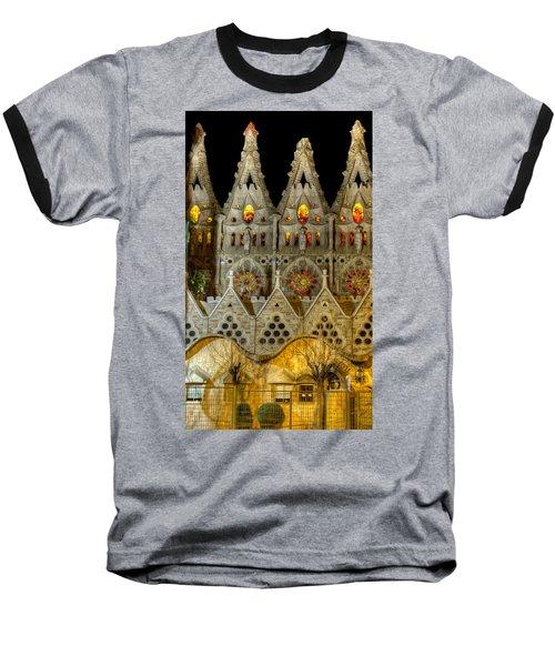 Three Tiers - Sagrada Familia At Night - Gaudi Baseball T-Shirt