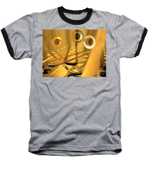 Three Trombones Baseball T-Shirt by R Muirhead Art