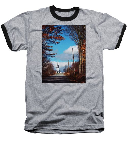 Through The Trees View Of The Norlands Church Steeple Baseball T-Shirt by Joy Nichols